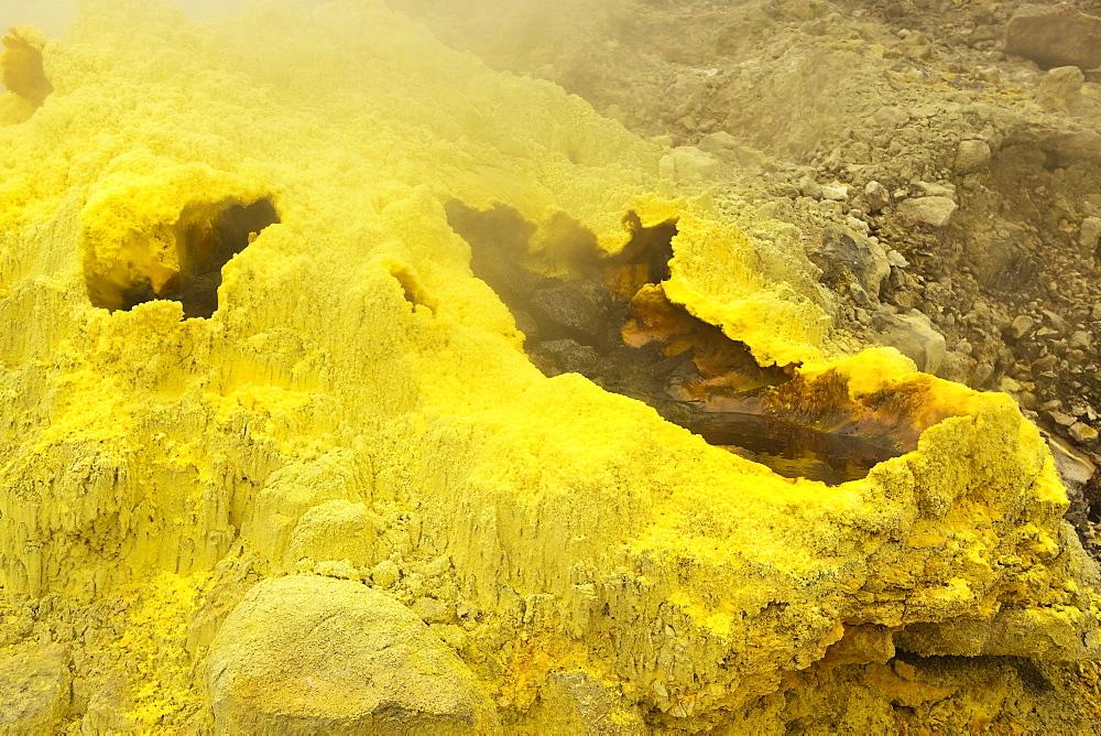 Sulphur encrusted fumarole at Papandayan Volcano, an active four crater caldera, Garut, West Java, Java, Indonesia, Southeast Asia, Asia