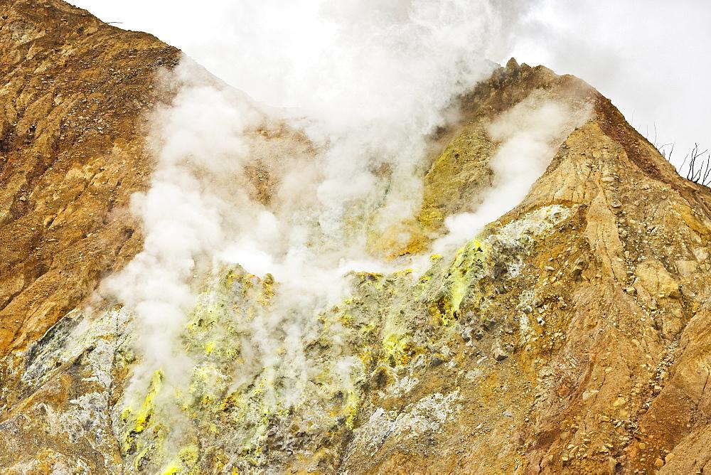 Sulphur encrusted fumaroles at Papandayan Volcano, an active four crater caldera, Garut, West Java, Java, Indonesia, Southeast Asia, Asia