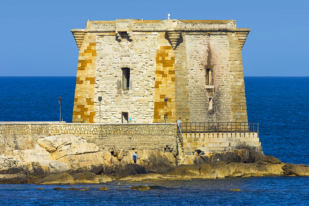 Torre (Tower) di Ligny, built 1671 as fort, now a Prehistory Museum, on seafront of this northwest fishing port, Trapani, Sicily, Italy, Mediterranean, Europe