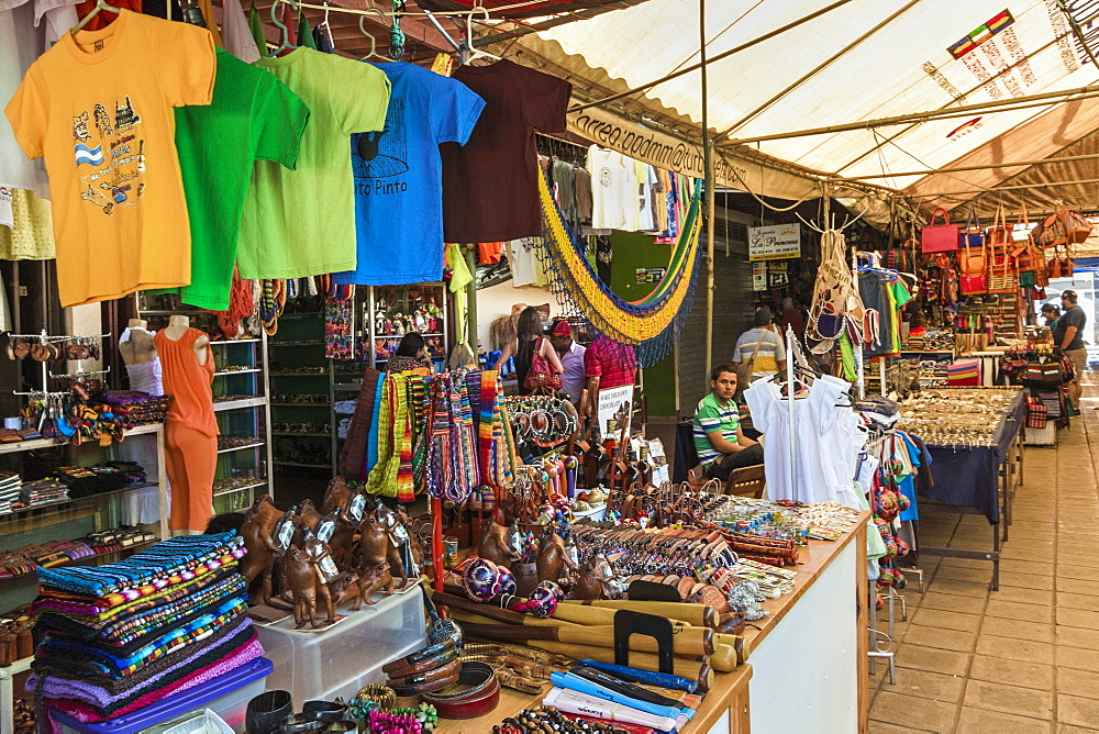 Crafts and souvenirs on sale in the famous Mercado Artesanias covered market, popular with tourists, Masaya, Nicaragua, Central America