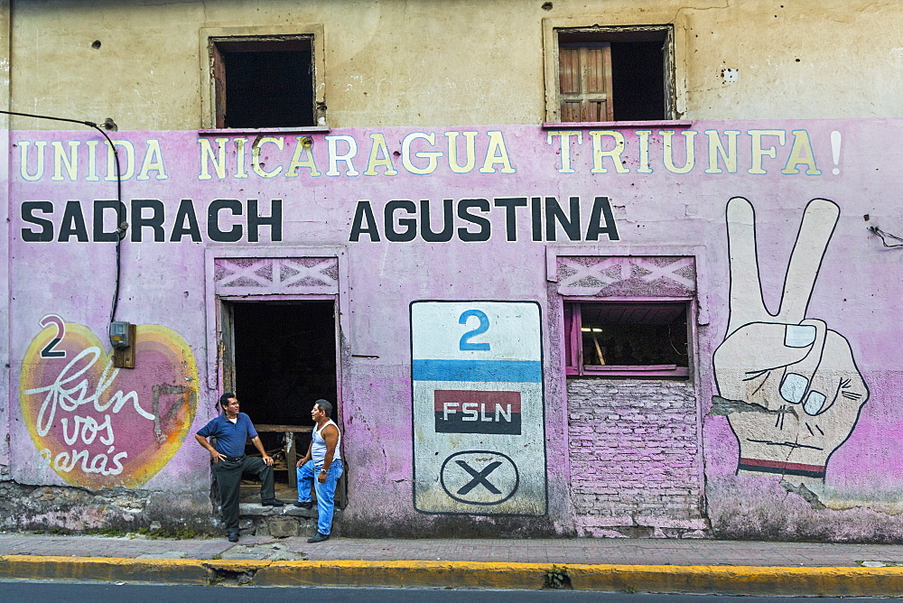 FSLN (Sandinista) mural reflecting the revolutionary past of this important northern city, Matagalpa, Nicaragua, Central America