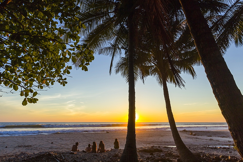 People by palm trees at sunset on Playa Hermosa beach, far south of the Nicoya Peninsula, Santa Teresa, Puntarenas, Costa Rica, Central America