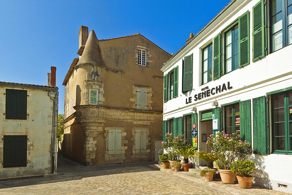 Hotel Senechal on Rue Gambetta in the island's principal western town. Ars en Ré, Ile de Ré, Charente-Maritime, France
