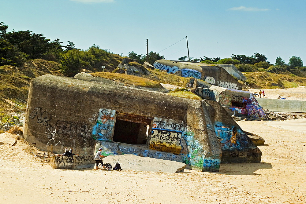 German WWII bunkers, La Plage de la Conche des Baleines on islands NW coast. Le Gillieux, Ile de Re, Charente-Maritime, France, Europe