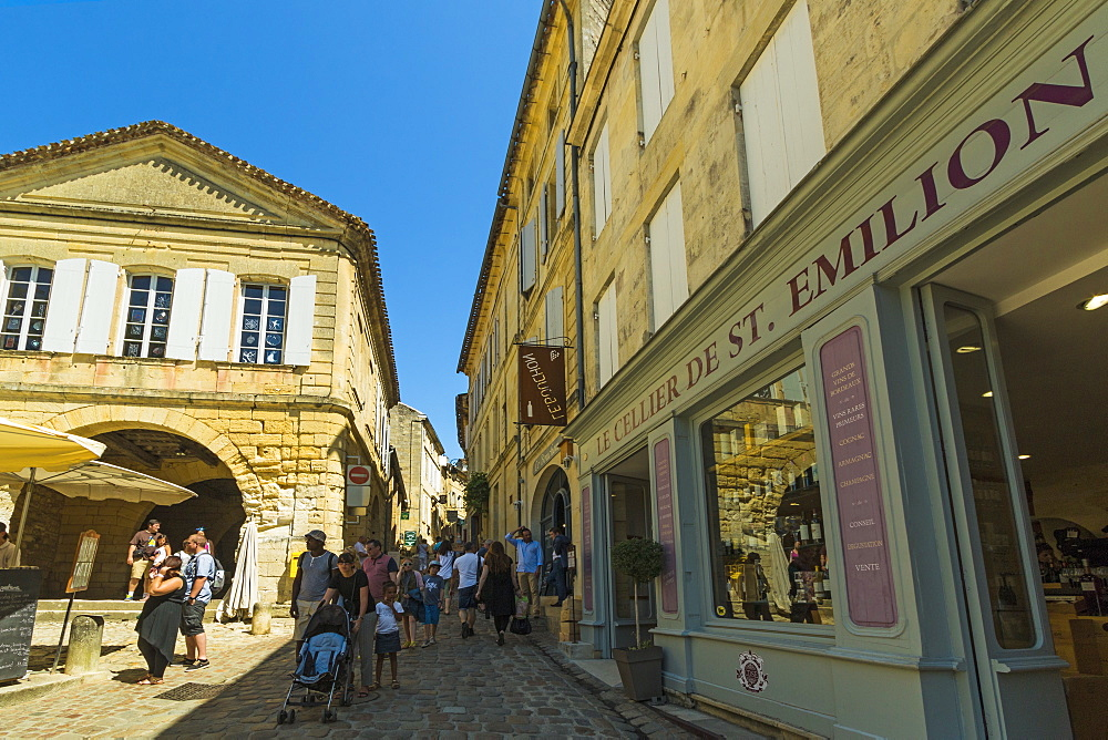 'Cave' wine shop on old Rue de la Cadene in this historic town & famous Bordeaux red wine region. Saint Émilion; Gironde; France