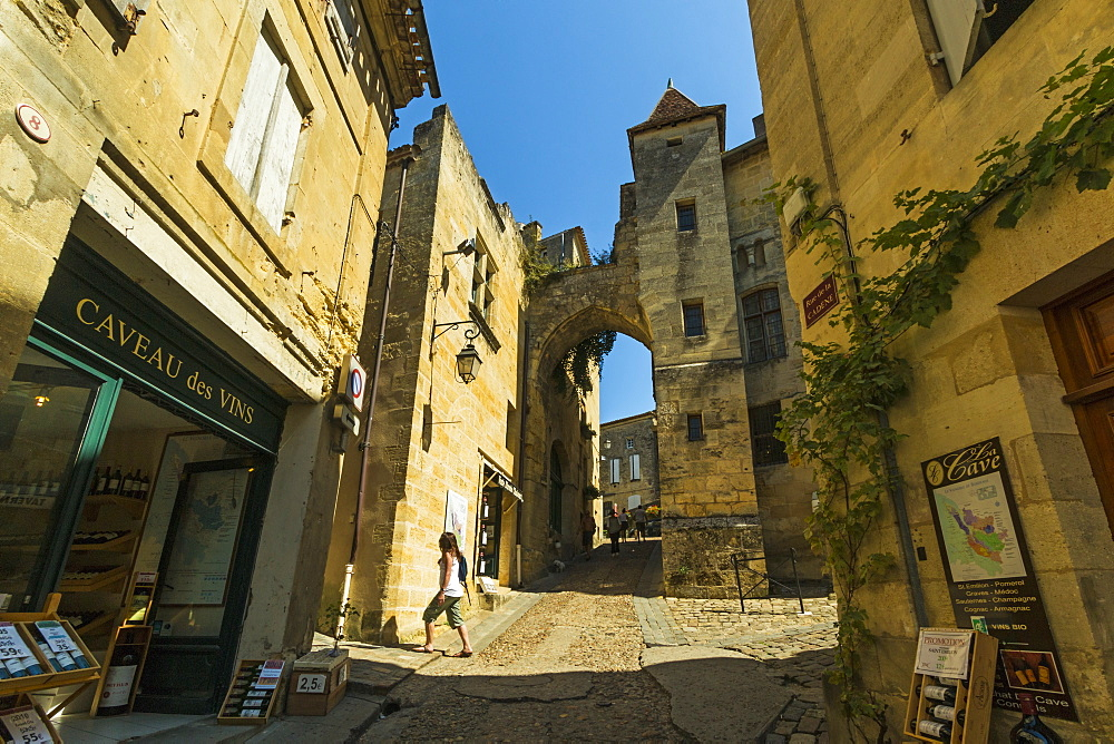 'Cave' wine shops on Rue de la Cadene in this historic town & famous Bordeaux red wine region. Saint Émilion; Gironde; France