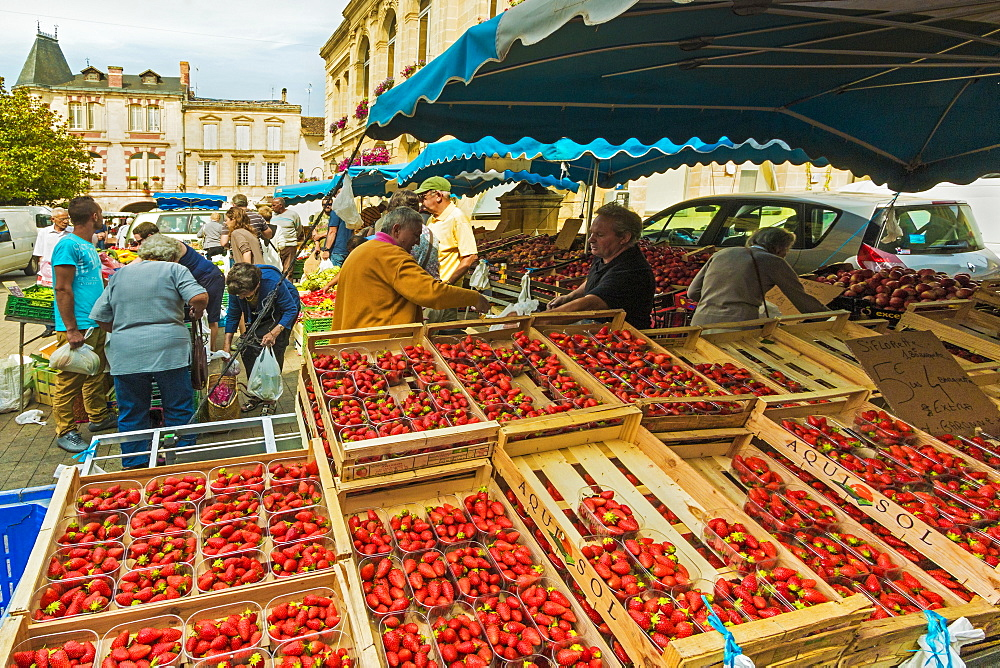 Strawberry stall in town hall square on market day in this old bastide town, Sainte-Foy-la-Grande, Gironde, Aquitaine, France, Europe - 83-12991