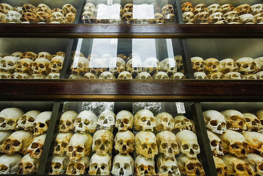 Some of the 5000 skulls of Khmer Rouge victims in the memorial stupa at the Killing Fields. Choeung Ek, Phnom Penh, Cambodia