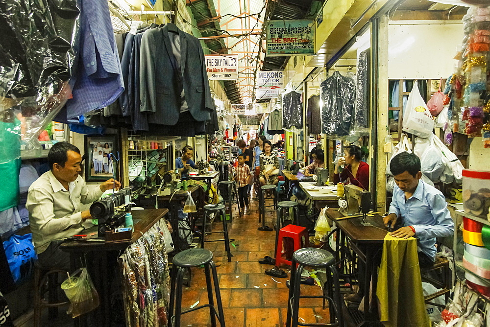 Repair and alteration work with sewing machines, Toul Tum Poung Russian Market, Toul Tum Poung, city centre, Phnom Penh, Cambodia, Indochina, Southeast Asia, Asia - 83-13060