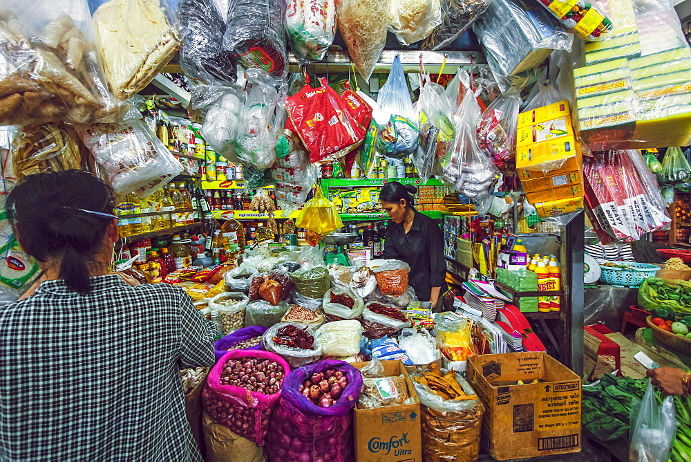 Woman and well-stocked stall selling goods and groceries at this huge old market, Central Market, city centre, Phnom Penh, Cambodia, Indochina, Southeast Asia, Asia - 83-13076