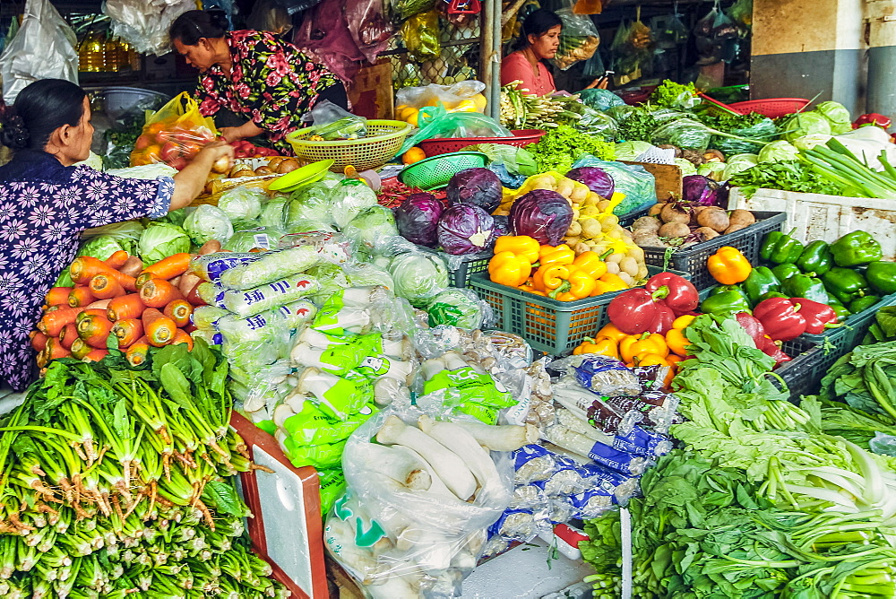 Well-stocked vegetable stall at this huge old market, Central Market, city centre, Phnom Penh, Cambodia, Indochina, Southeast Asia, Asia