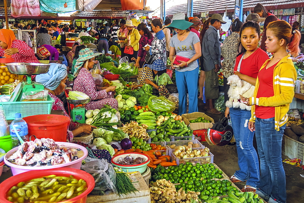 Girls at vegetable stall at the busy central market in this old fomerly French colonial river port city, Kampot, Cambodia, Indochina, Southeast Asia, Asia