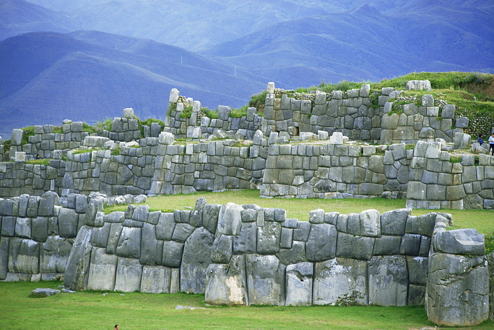Inca masonry, Fortress of Sacsayhuaman, Cusco, Peru, South America - 83-19