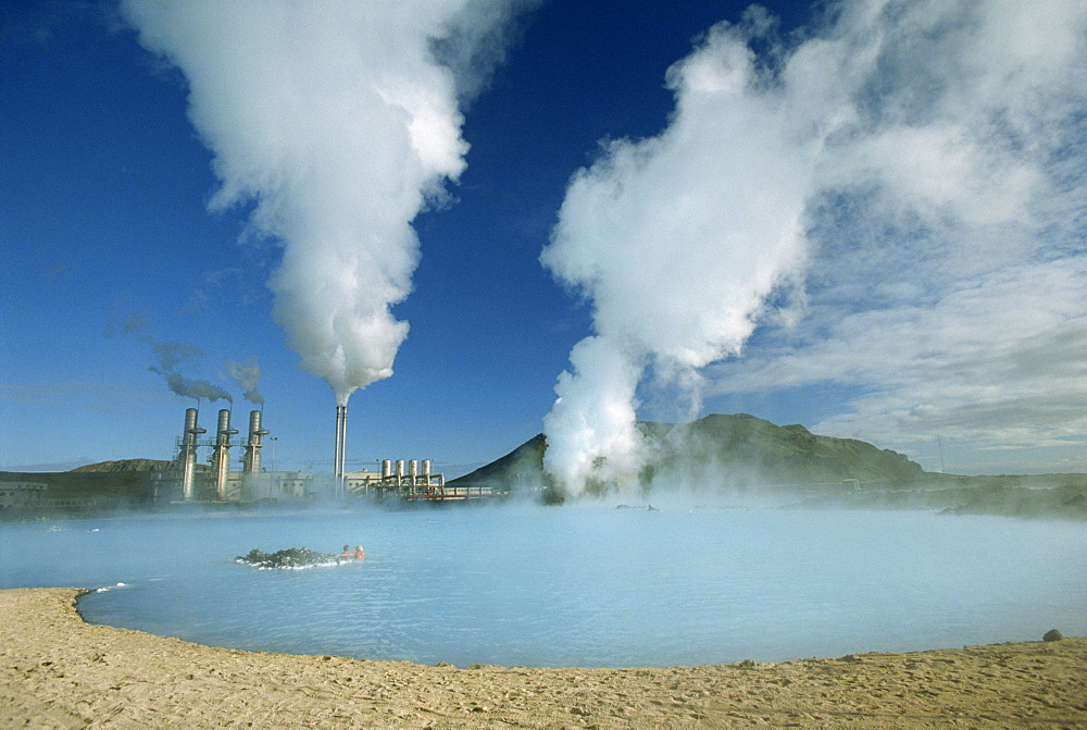 Geo-thermal power plant in the Svartsengi (Black Field) Area, the Blue lagoon is popular with bathers and good for skin complaints, Svartsengi, Iceland, Polar Regions - 83-2583