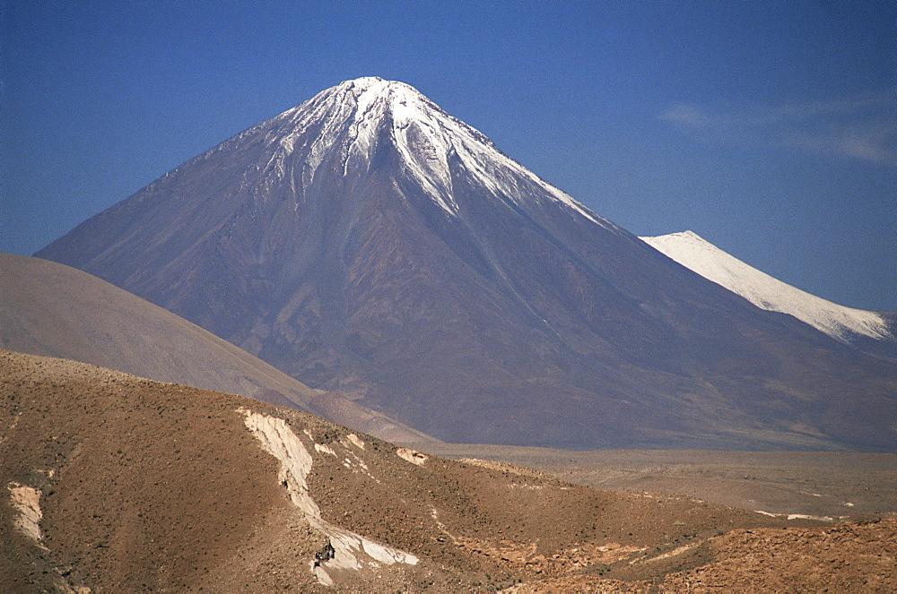 Atacama Desert and Volcan Licancabur, San Pedro de Atacama region, Chile, South America