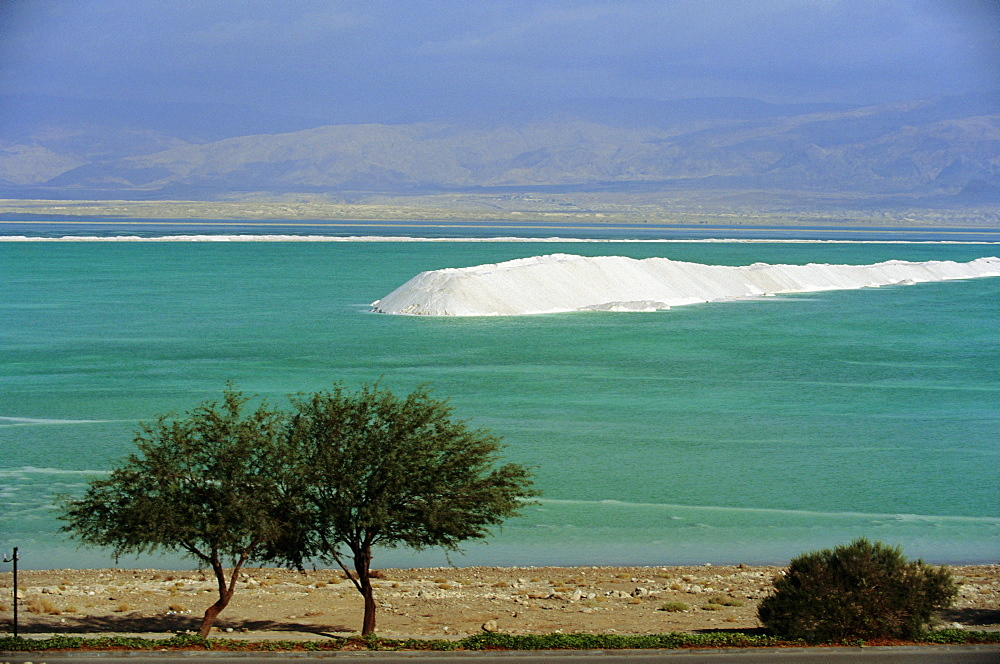 Mined sea salt at shallow south end of the Dead Sea near Ein Boqeq, Israel, Middle East