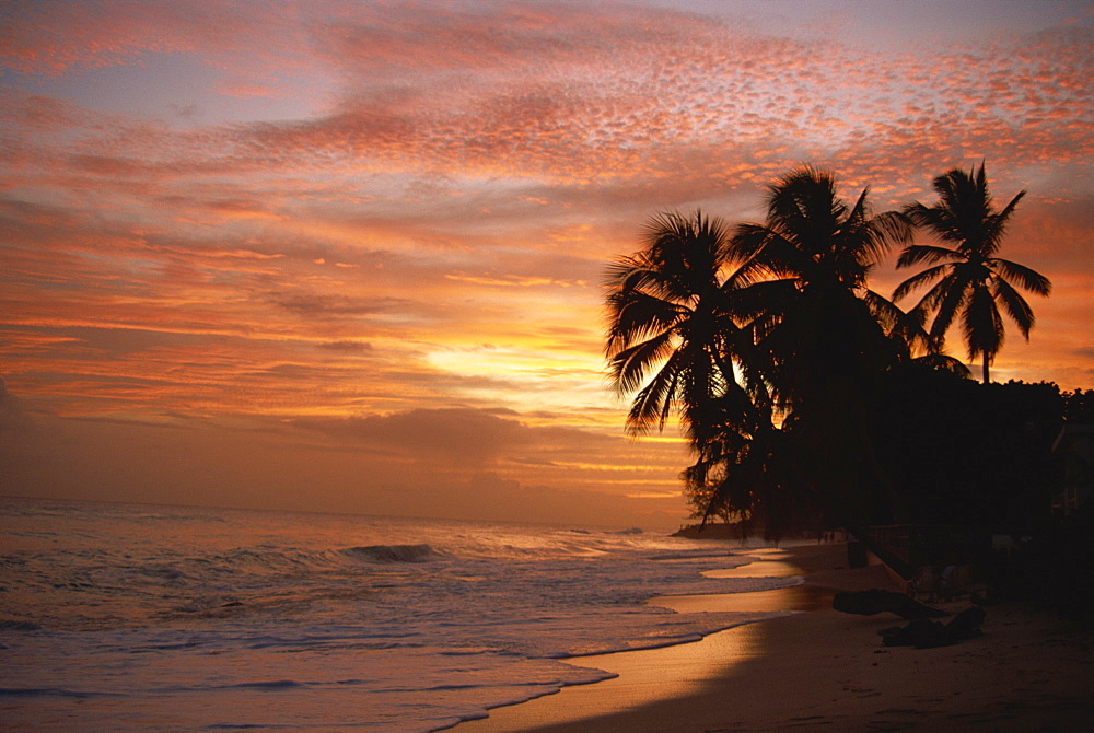 Sunset over Worthing Beach, Christ Church, Barbados, West Indies, Caribbean, Central America