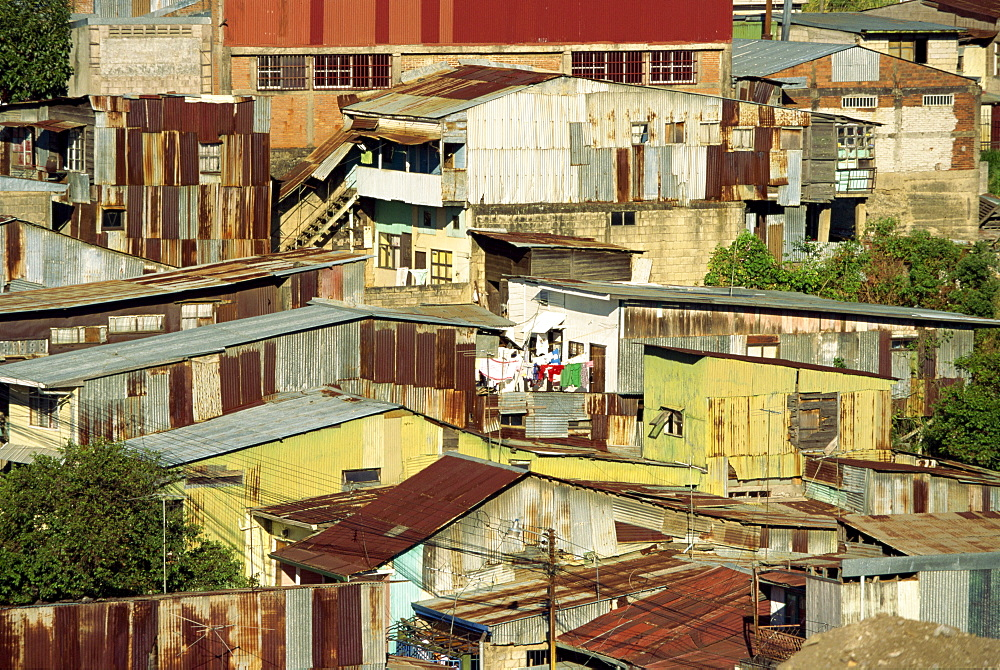 Corrugated iron buildings in a poor barrio north of the centre of San Jose, Costa Rica, Central America
