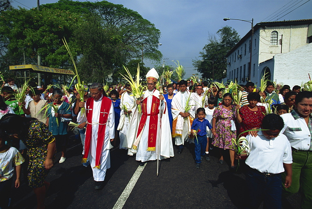 Palm Sunday procession in the centre of San Salvador, El Salvador, Central America