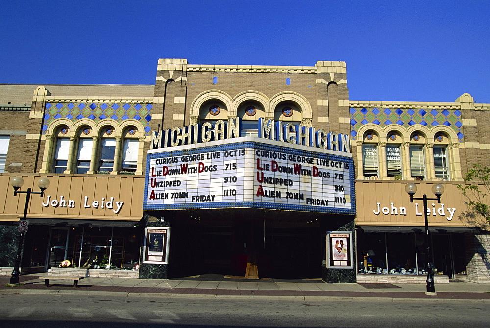 Old cinema facade in Ann Arbor, Michigan, United States of America, North America