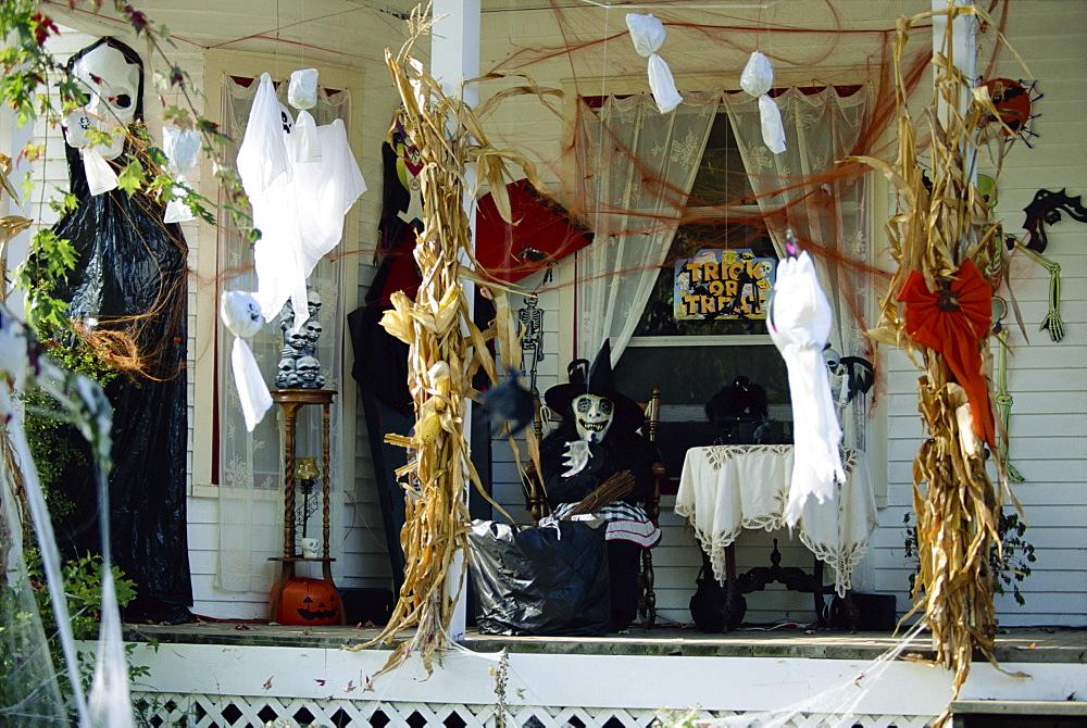 Halloween house decorations, New Baltimore, Michigan, United States of America, North America