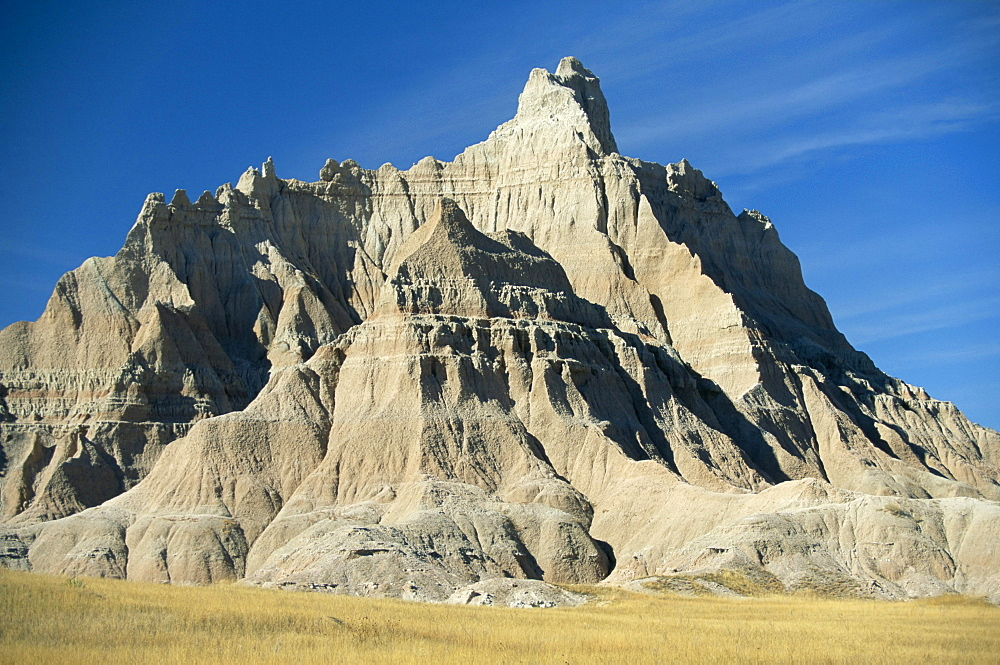 Part of the North Unit of Badlands National Park, carved out of the prairies by rapid water erosion of sediments, South Dakota, United States of America, North America