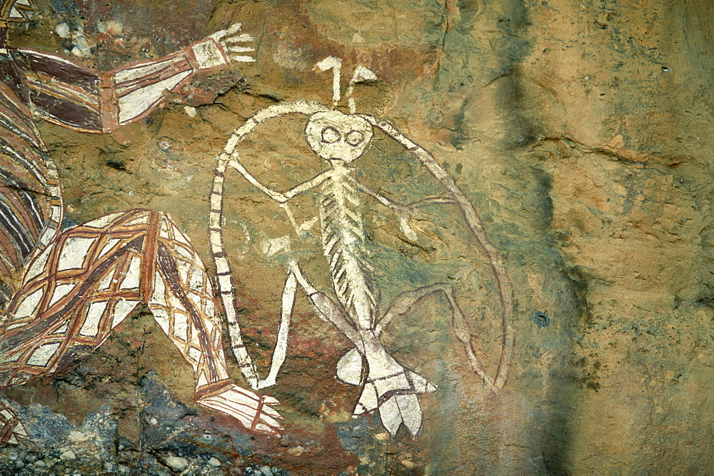 Namarrgon, the Lightning Man, one of the supernatural ancestors depicted at the aboriginal rock art site at Nourlangie Rock, Kakadu National Park, UNESCO World Heritage Site, Northern Territory, Australia, Pacific