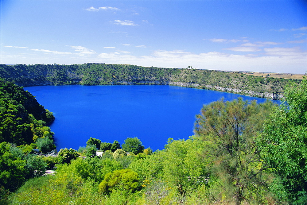 The Blue Lake, a natural reservoir and one of three crater lakes at the top of Mt Gambier, an extinct volcano and town in the south east of the state, South Australia, Australia