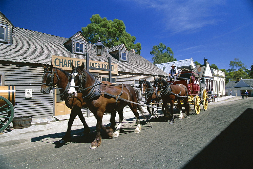 Horse drawn carriage at Sovereign Hill, re-creation of an 1860s gold-mining township near Ballarat, west of Melbourne, Victoria, Australia, Pacific