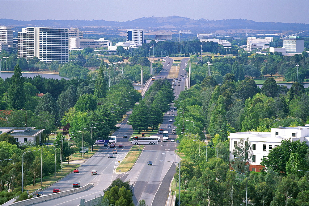 Looking from Capital Hill along Commonwealth Avenue towards Vernon Circle in the centre of the capital city, Canberra, Australian Capital Territory (A.C.T.), Australia, Pacific