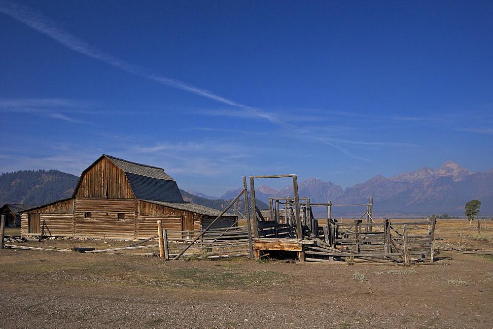 Barn, John and Bartha Moulton Homestead, Mormon Row Historic District, Grand Teton National Park, Wyoming, United States of America, North America