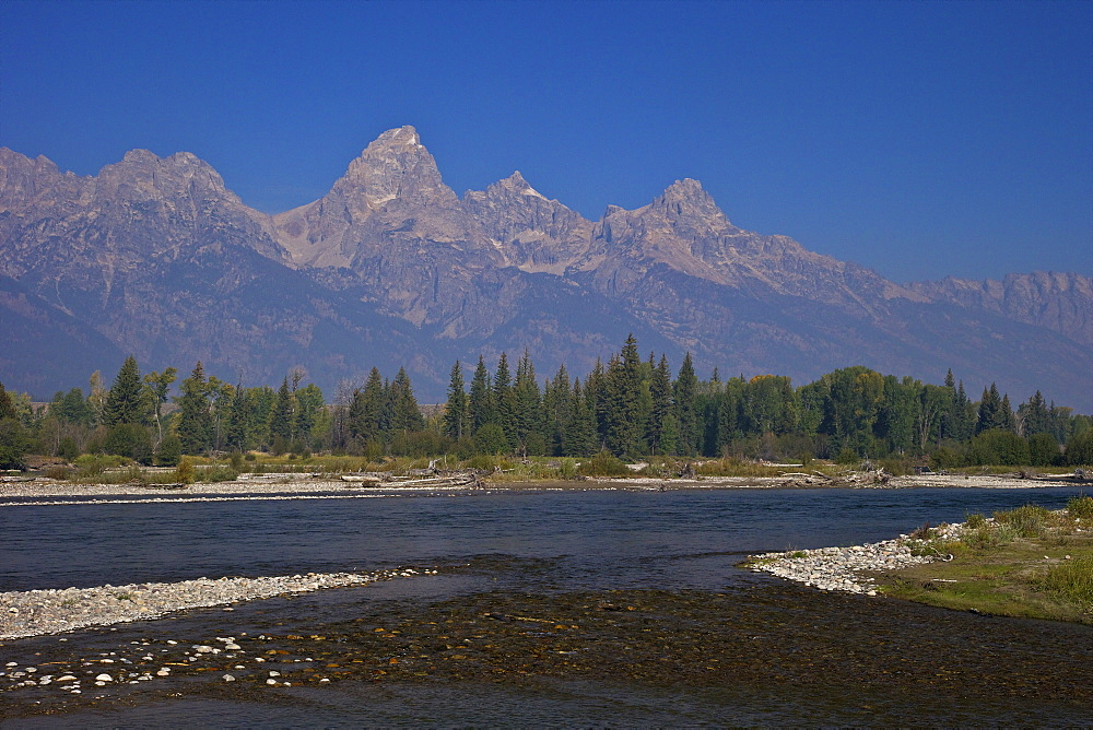 Snake River and Grand Teton Cathedral Group from Blacktail Ponds area,  Grand Teton National Park, Wyoming, United States of America, North America