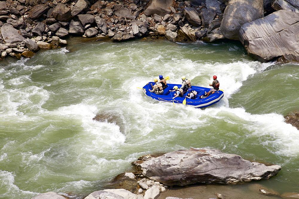 Whitewater rafting on Bhote Koshi river, Nepal, Asia