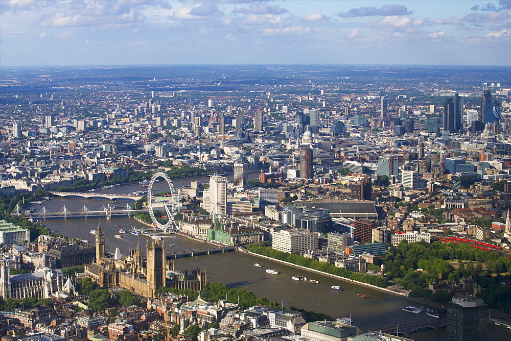 Aerial view of the Houses of Parliament, Westminster Abbey and London Eye, London, England, United Kingdom, Europe