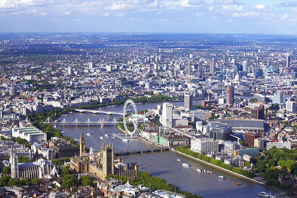 Aerial view of the Houses of Parliament, Westminster Abbey, London Eye and River Thames, London, England, United Kingdom, Europe