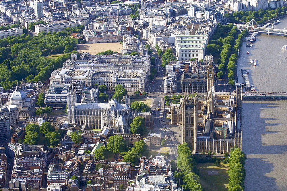 Aerial view of the Houses of Parliament and Westminster Abbey, UNESCO World Heritage Site, London, England, United Kingdom, Europe