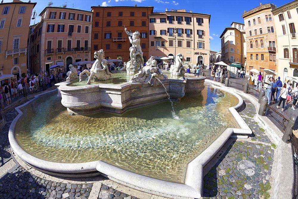 Fontana del Nettuno (Fountain of Neptune), Piazza Navona,  Rome, Lazio, Italy, Europe