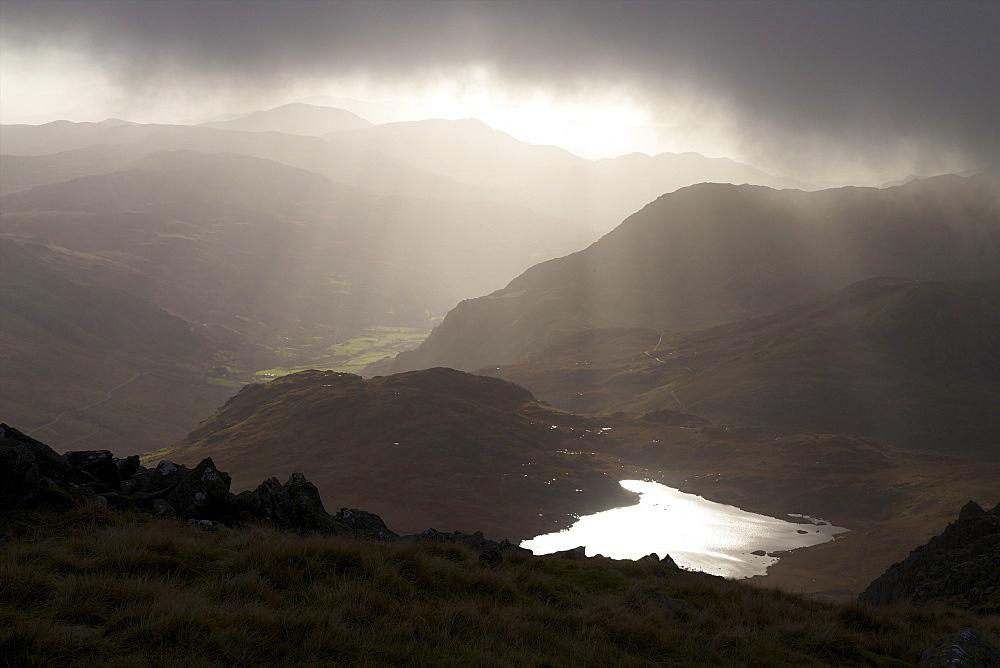 Llyn Bochlwyd, and the Ogwen Valley from Glyder Fach, Snowdonia National Park, Gwynedd, Wales, United Kingdom, Europe