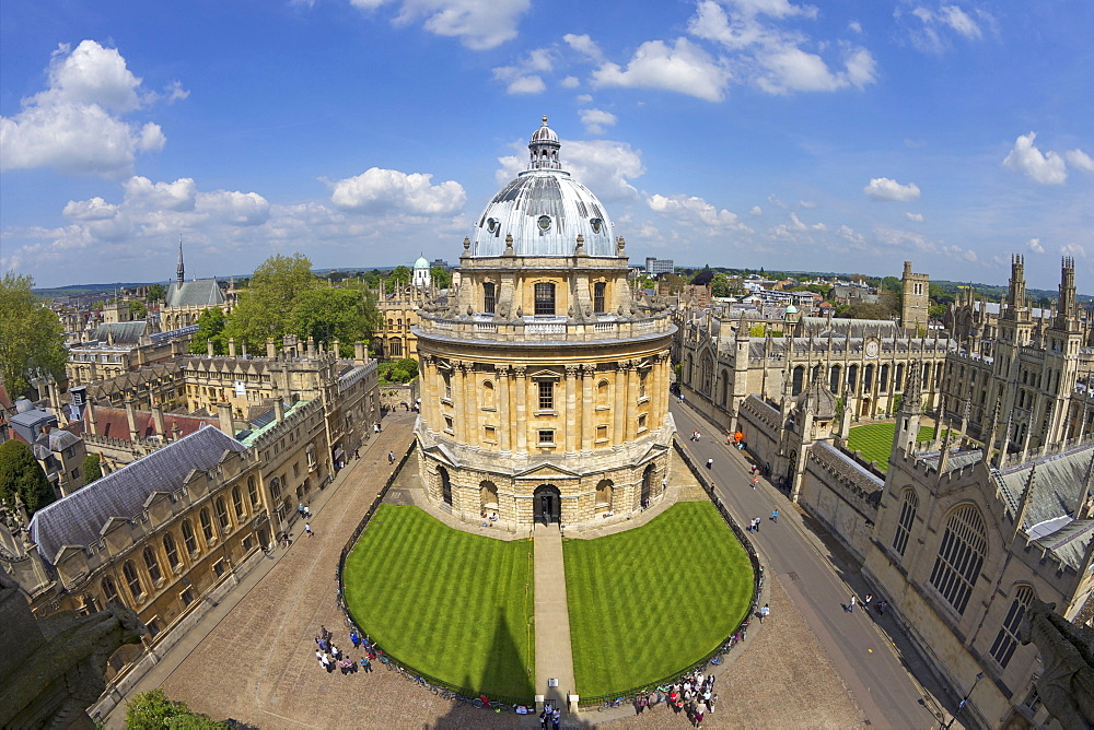 Radcliffe Camera and All Souls College from University Church of St. Mary the Virgin, Oxford, Oxfordshire, England, United Kingdom, Europe - 831-1454
