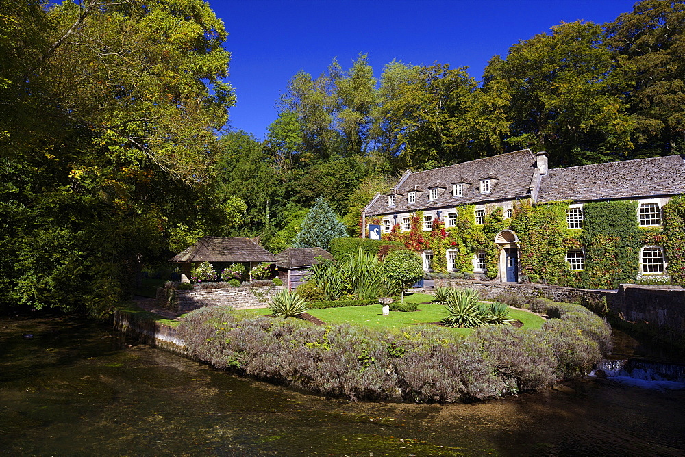River Coln and Swan Hotel, Bibury, Cotswolds, Gloucestershire, England, United Kingdom, Europe - 831-1463