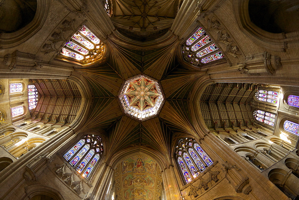 Ely Cathedral interior, lantern and nave, Ely, Cambridgeshire, England, United Kingdom, Europe - 831-1495