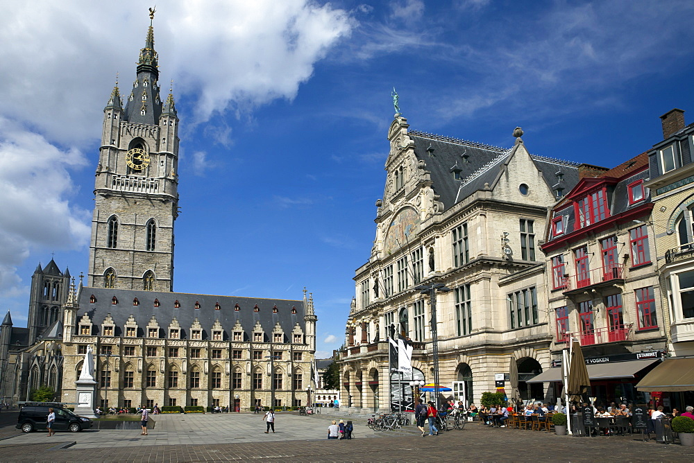 Belfry Tower in Saint Bavo's square, city centre, Ghent, West Flanders, Belgium, Europe