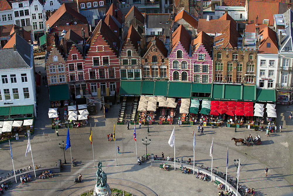 Markt Square seen from the top of Belfry Tower(Belfort Tower), UNESCO World Heritage Site, Bruges, West Flanders, Belgium, Europe