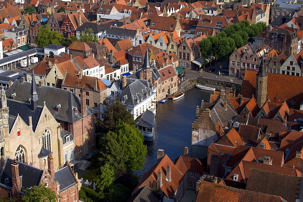 Rozenhoedkaai seen from the top of Belfry Tower (Belfort Tower), UNESCO World Heritage Site, Bruges, West Flanders, Belgium, Europe