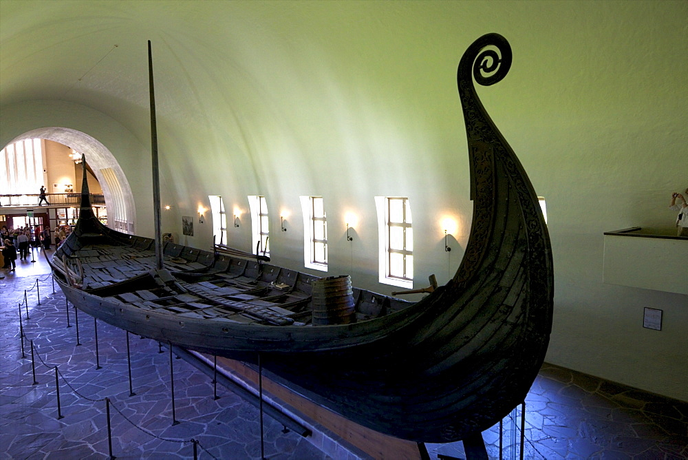 Oseberg ship, 9th century burial vessel with classic curled prow, Viking Ship Museum, Vikingskipshuset, Bygdoy, Oslo, Norway, Scandinavia, Europe