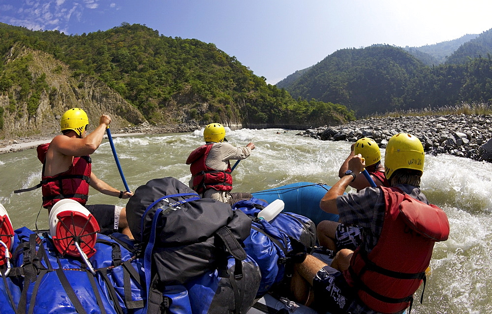 White-water rafting on Sun Kosi River, Nepal, Asia