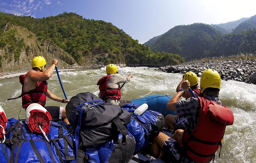 White-water rafting on Sun Kosi River, Nepal, Asia