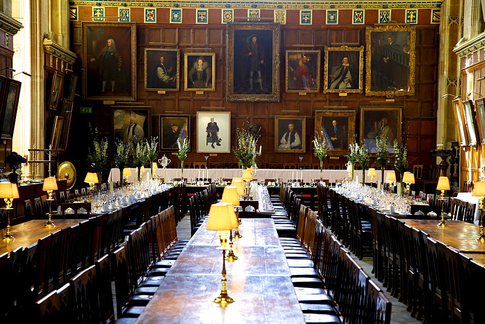 Great Hall (dining room) at Christ Church College, Oxford University, Oxford, Oxfordshire, England, United Kingdom, Europe