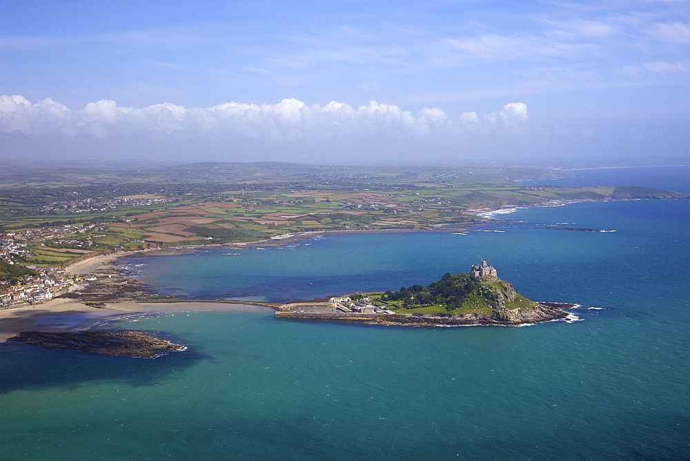 Aerial view of St. Michael's Mount, Penzance, Lands End Peninsula, West Penwith, Cornwall, England, United Kingdom, Europe