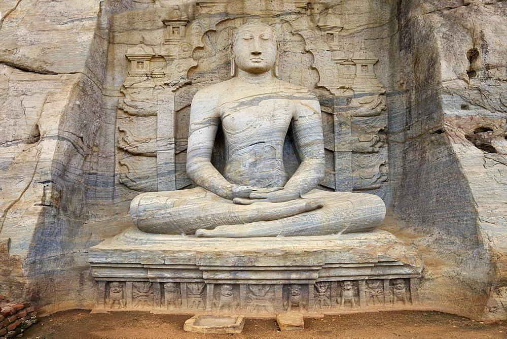 Buddha in meditation, Gal Vihara Rock Temple, Polonnaruwa, Sri Lanka, Asia